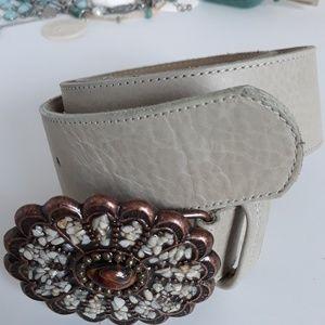 Cream Leather Belt w Embellished Buckle